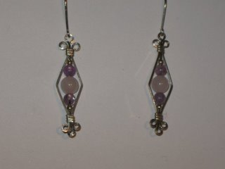 E-16 sterling silver wire with amethyst, rose quartz, and 14 carat gold beads $25.jpg