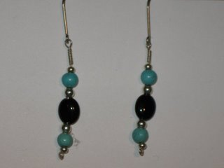 E-22 sterling silver wire with sterling silver, turquoise, and onyx beads $12.jpg