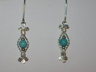 E-23 sterling silver wire with turquoise and sterling silver beads $25.jpg