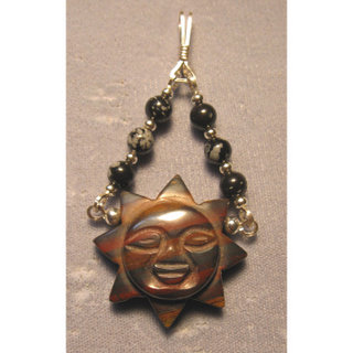 P-20 Jasper carved sun with sterling silver wire and snowflake obsidian and sterling silver beads $30.jpg