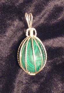P-32 Malachite egg wrapped in sterling silver wire $35 (3).jpg