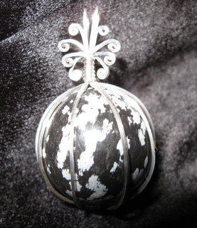 P-37 Snowflake obsidian spehre wrapped in sterling silver $35.jpg