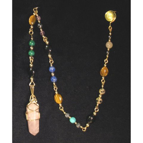 Pend-1 14 carat gold filled wire with a rose quartz crystal, numerous beads  $70.jpg